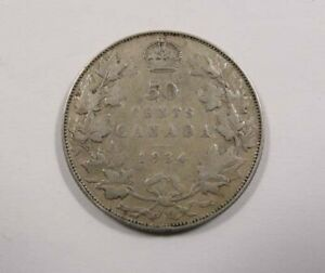 CANADA KING GEORGE V SILVER 50 CENTS 1934