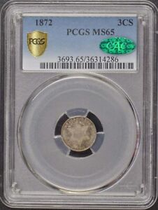 Click now to see the BUY IT NOW Price! 1872 3CS THREE CENT SILVER PCGS MS65  CAC  POP 2 MINTAGE 1000