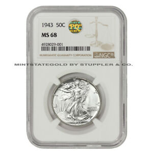Click now to see the BUY IT NOW Price! 1943 50C SILVER WALKING LIBERTY NGC MS68 PQ APPROVED BLAST WHITE HALF DOLLAR