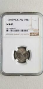 Click now to see the BUY IT NOW Price! PAKISTAN 1/4 RUPEE 1950 NGC MS 64