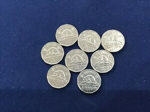 1957 CANADA FIVE CENTS BUG TAIL VARIETY LOT OF 8 COINS    E7231