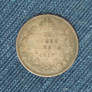 1917 CANADA 10 CENTS   KING GEORGE V 92.5  SILVER KM 23