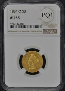 1854 O THREE DOLLAR $3 NGC AU55