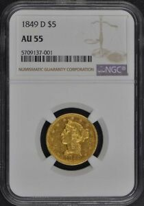 Click now to see the BUY IT NOW Price! 1849 D HALF EAGLE   NO MOTTO $5 NGC AU55