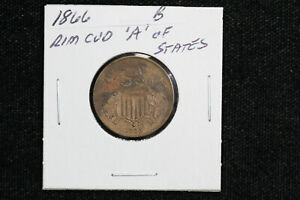 1866 2 CENT PIECE RIM CUD ERROR BU 0VQ2