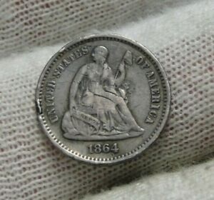1864S SEATED LIBERTY HALF DIME H10C   90 000 MINTED NICE COIN  9241