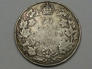 KEY DATE 1914 SILVER CANADIAN FIFTY CENT COIN  LOW 160K MINT . CANADA 50.  149
