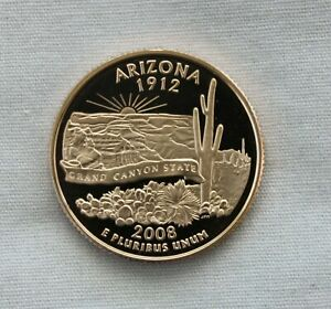 2008 S ARIZONA CLAD PROOF STATE QUARTER CAMEO
