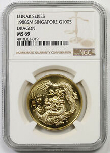 Click now to see the BUY IT NOW Price! 1988 SM SINGAPORE G100S GOLD 100 SINGOLD LUNAR SERIES DRAGON MS 69 NGC 1 OZ