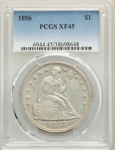1856 US SEATED LIBERTY SILVER DOLLAR $1   PCGS XF45