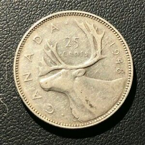 VF 1948 CANADIAN QUARTER 25 CENTS SILVER COIN. KEY DATE