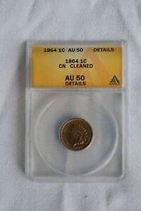 1864 INDIAN HEAD CENT ANACS AU50 DETAILS CLEANED R COPPER NICKEL TYPE