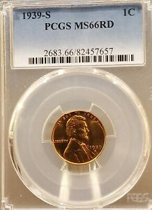 1939 S LINCOLN CENT PCGS MS66RD