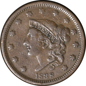 1838 LARGE CENT N.6 R.1 GREAT DEALS FROM THE EXECUTIVE COIN COMPANY
