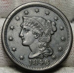 1846 LARGE CENT PENNY BRAIDED HAIR PENNY   NICE COIN    5212