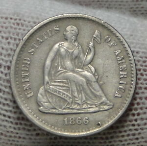 1866S SEATED LIBERTY HALF DIME H10C   120 000 MINTED MARK BUT NO HOLE  5305