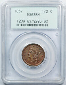 1857 1/2C BRAIDED HAIR HALF CENT PCGS MS 63 BN UNCIRCULATED OGH TOUGH
