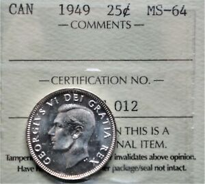 1949 CANADA 25 CENTS SILVER ICCS MS 64