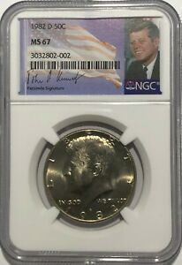 Click now to see the BUY IT NOW Price! 1982 D NGC MS67 KENNEDY HALF DOLLAR JFK COIN SIGNATURE 50C BUSINESS STRIKE POP28