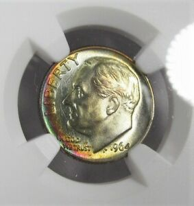 Click now to see the BUY IT NOW Price! 1964 D TOP POP SILVER ROOSEVELT DIME NGC MS68 TONED COIN AJ168