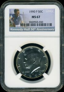 Click now to see the BUY IT NOW Price!  1990 P  KENNEDY HALF NGC MS67 BRILLIANT SPOT FREE UN TONED PQ