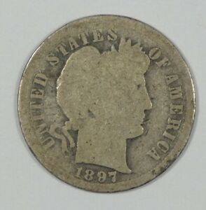 1897 S BARBER DIME AG SILVER 10C