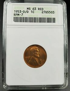 1953 D D/D LINCOLN WHEAT CENT PENNY ANACS MS63 RPM 007 DMR 009 TOP CONECA 53 RPM
