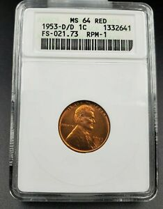 1953 D D/D LINCOLN WHEAT CENT PENNY ANACS MS64 RPM 001 VARIETY FS 021.73 FS 501