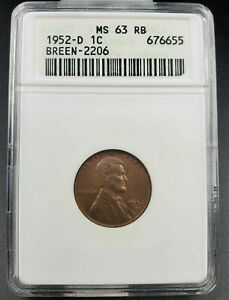 1952 D/S LINCOLN WHEAT CENT PENNY ANACS MS63 RB FS 021.6 BREEN 2206 FS 511