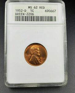 1952 D/S LINCOLN WHEAT CENT PENNY ANACS MS62 RED FS 021.6 BREEN 2206 FS 511