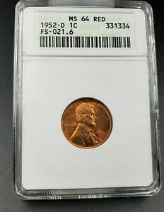 1952 D/S LINCOLN WHEAT CENT PENNY ANACS MS64 RED FS 021.6 BREEN 2206 FS 511