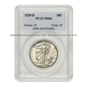 1929 D 50C SILVER WALKING LIBERTY HALF DOLLAR PCGS MS64 CHOICE GRADE DENVER COIN
