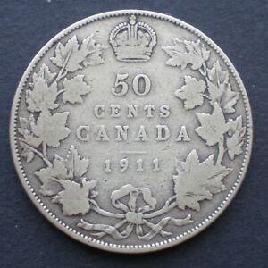 1911 CANADA 50 CENTS GEORGE V .925 SILVER    LOW MINTAGE   SEMI KEY DATE