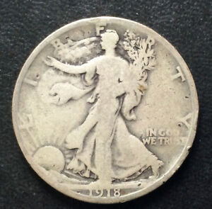 1918 S LIBERTY WALKING HALF DOLLAR SILVER U.S. COIN A4176