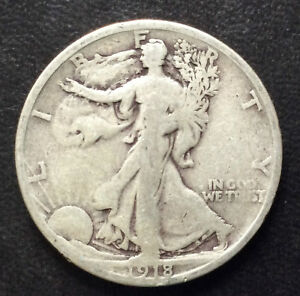 1918 S LIBERTY WALKING HALF DOLLAR SILVER U.S. COIN A4173