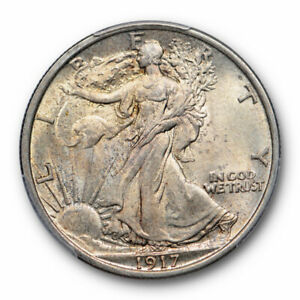 1917 50C WALKING LIBERTY HALF DOLLAR PCGS MS 64 UNCIRCULATED LIGHTLY TONED OR