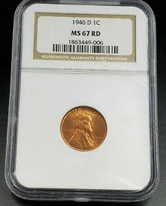 1946 D LINCOLN WHEAT CENT PENNY COIN NGC MS67 RD RED BROWN LABEL