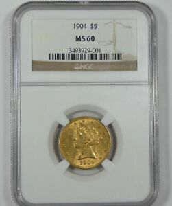 1904 GOLD LIBERTY HEAD MOTTO ABOVE EAGLE $5 COIN NGC MS 60