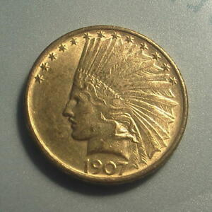 Click now to see the BUY IT NOW Price! 1907 GOLD $10 INDIAN HEAD EAGLE COIN NO MOTTO   BU    134