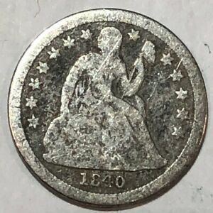 1840 WITH DRAPERY SEATED LIBERTY SILVER U.S. DIME. VG ROUGH SURFACES. Q1