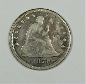 BARGAIN 1873 LIBERTY SEATED QUARTER WITH ARROWS FINE SILVER 25C