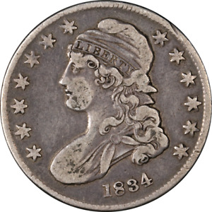 1834 BUST HALF DOLLAR SMALL DATE & SMALL LETTERS CHOICE VF 0 114 R.1