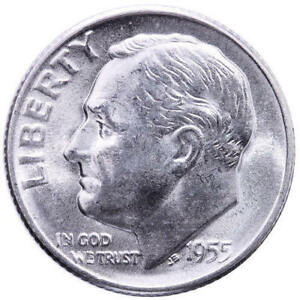 1955 S ROOSEVELT DIME BU 90  SILVER   FROM OBW BANK BU ROLL
