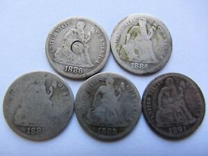 LOT OF 5 SEATED LIBERTY DIMES 2 1886  2 1889  1891  SEE PHOTOS FOR CONDITION