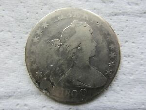 1800 DRAPED BUST SILVER DOLLAR VG DETAILS PLUGGED   SEE PHOTOS