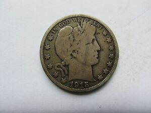 1915 50C BARBER HALF DOLLAR KEY DATE VG MOST OF LIBERTY SHOWS   SEE PHOTOS  WOW
