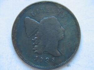 1795 1/2C LIBERTY CAP HALF CENT PLAIN EDGE WITH POLE PUNCTUATED DATE   VG