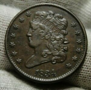 1834 CLASSIC HEAD HALF CENT   NICE COIN    ONLY 103 000 MINTED  9481