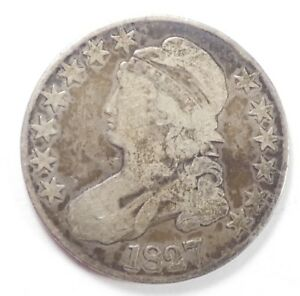 BARGAIN 1827 CAPPED BUST/LETTERED EDGE HALF DOLLAR GOOD SILVER 50 CENTS