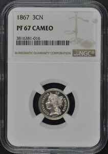 Click now to see the BUY IT NOW Price! 1867 THREE CENT PIECE   COPPER NICKEL 3CN NGC PR67CAM